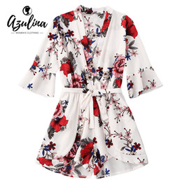 307e385707cd 20187 AZULINA Belted Floral Tiered Romper Boho Playsuits Women Elegant  Summer Short Jumpsuits Rompers Sexy Beach Girls Short Overalls