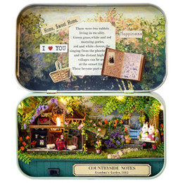 Wholesale Gift Paper Box Doll - Funny Countryside Notes 3D Wooden DIY Handmade Box Theatre Dollhouse Miniature Box Cute Mini Doll House Assemble Kits Gift Toys