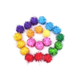 Wholesale Craft Pompoms - Fluffy Craft PomPoms Balls Mixed Colours Pom Poms Tinsel Festive Party Wedding Ball Decoration Supplies 30mm 50PCS
