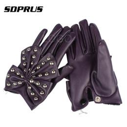 2019 фиолетовые кожаные перчатки 1 Pair Fashion Leather Gloves Women Female Lady Girl Rivets Butterfly Bow Decoration Punk Soft PU Leather Gloves Purple дешево фиолетовые кожаные перчатки