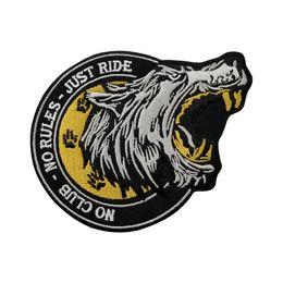 patch punk della maglia Sconti Commercio all'ingrosso TAGLIA LUNA LUPO NO CLUB NESSUN REGOLAMENTO MC PUNK RICAMO RICAMATO PATCH BIKER VEST BADGE 4