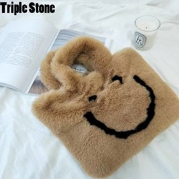 girl smile cartoon Promo Codes - Smile Face Korean Winter Fur Bags Top-handle Purses Clutch Rabbit Fur Korean Handbags Cartoon Children Girls Hand Bags Soft Hair