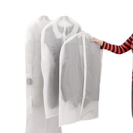 Sacolas de viagem de terno on-line-100 pcs Pano À Prova de Poeira Capa Garment Organizador Terno Vestido Jaqueta Roupas Protetor Bolsa De Armazenamento De Viagem Saco Com Zíper Atacado