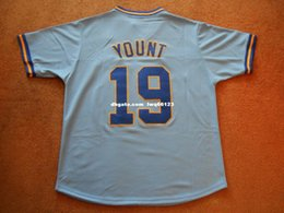 Wholesale Women S P - Cheap custom Robin Yount #19 Milwaukee HOF Blue P O Baseball Jersey NEW Stitched Customize any name number MEN WOMEN YOUTH Jerseys