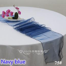 Decoración del partido del color azul marino decoración de mesa de organza de cristal boda, banquete, hotel y decoración del partido 30x275cm brillo de la talla desde fabricantes