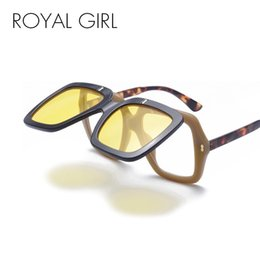 Wholesale Two Color Frame Glasses - ROYAL GIRL Oversized Square Sunglasses Women Men Brand Design Unique Clamshell Frame Two Lens Sun Glasses Unisex Eyewear ss589