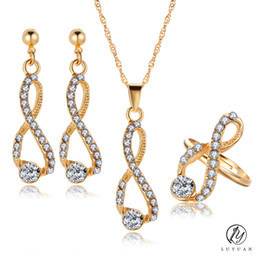 Gold-anhänger, die für frauen dubai online-Luxus Gold Farbe Dubai Frauen Schmuck Sets Mode 8 Förmigen Anhänger Ohrringe Halskette Sets Elegante Kristall Afrikanische Schmuck Sets
