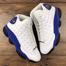 Wholesale Air Carbon - Newest Air Retro 13 Hyper Royal Real Carbon Fiber Basketball Shoes Authentic Sneakers Men 13s Retro White Blue Suede Chicago 2018 Release