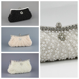 Wholesale ivory pearl clutch - Cheap Sale Full Pearls Crystal Beaded Bridal Wedding Hand Bags Evening Party One Shoulder Small Clutch Dinner Bags White Ivory Pink Black