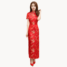 02b3cbf7a7 Red Chinese Women Dress Vintage Satin Qipao Sexy Long Slim Cheongsam Hot  Sale Flower Dress Size S M XL XXL 3X4XL 5XL 6XL