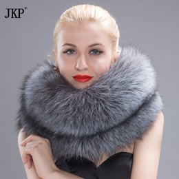 Wholesale Hw Fashion - authentic fox fur knitted multicolour scarf women's genuine leather collar magnetic buckle winter fashion collar ring HW-10