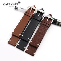Черные полированные часы онлайн-CARLYWET 20 22 24 мм воловья кожа гладкая винтажная кожа черный коричневый замена смотреть ремешок ремень с полированной пряжкой