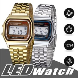 Wholesale led watch metal - Hot Sale Multifunction WR F91W Fashion Watches metal watchband LED Change Watch Sport A159W Watch For Student Kids