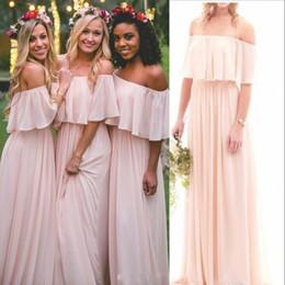Wholesale off white chiffon beach wedding - 2018 Light Pink Chiffon Off the Shoulder Bridesmaid Dresses Summer Beach Boho Strapless Floor Length Grape Maid Of Honor Gowns Wedding Wear