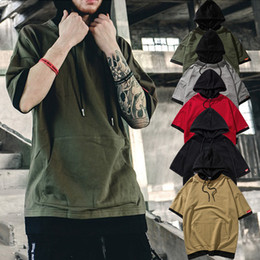 Wholesale Mens Short Sleeve Hoodies - Fashion High Street Hooded Tee Mens Half Sleeve Sweatshirts Loose Round Neck Hoodies Tops Tide Male T shirts Summer
