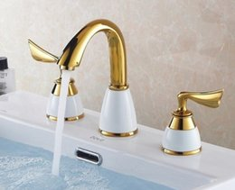 Wholesale Polished Gold Faucets - Free shipping New Design 3Pcs Gold Polished Solid Brass white ceramic Bathroom Basin Sink Mixer Tap Basin Faucet BF900