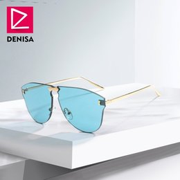 2019 lunettes de soleil superbes DENISA Rimless Aviation Hommes lunettes de  soleil Nouveau 2018 Cool One 1696420880b3