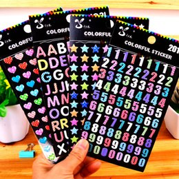 2019 diseños de papel de carta Colorido Número Carta Corazón Amor Diseño Etiqueta de Pvc 3D Para Diario Papel Paster Mini Kawaii Dream Pegatinas DIY Herramientas 1 85sr Z diseños de papel de carta baratos