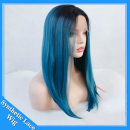 Wholesale Short Dark Blue Hair - Short Bob Dark Root Blue Wig Women's Fashion Top Quality Front Lace Heat Resistant Synthetic Ombre Black to Blue Hair Wigs for Women