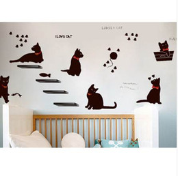 graphic animal classic Australia - Vinyl Wall Stickers Wallpaper Animal Cartoon Black Cat Family Living Room Sofa Wall Decals House Decoration Poster Home Decor