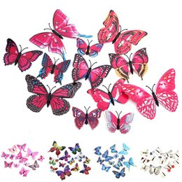 Wholesale Room Decals For Walls - 3D Cinderella Double Layers Wings Butterfly Decoration 12pcs lot PVC Removable Wall Stickers Decal Mural Appliances