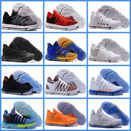 Wholesale Blue Green Obsidian - New Durant 10 Basketball Shoes Oreo Black White Opening Night Finals Blue Gold Obsidian University Red Black KD 10 Sport Sneakers