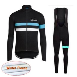 Wholesale Thermal Bib Cycling - Hot sale! RAPHA Cycling Winter Thermal Fleece jersey (bib) pants sets Cycling cycling suit Men's bicycle windproof wearable clothes c1907