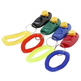 Clique em vermelho on-line-Cão de estimação Botão Click Clicker Trainer Formação I-Click Clicker Socorro Guia de Alça de Pulso Azul Verde Laranja Vermelho Aleatoriamente Cor A246