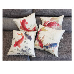 Wholesale chinese throw - Chinese style Brocarded Carp Cotton Linen Fabric Throw Pillow Fashion Hotal Office Bedroom Decorate Sofa Chair Cushion high quantity