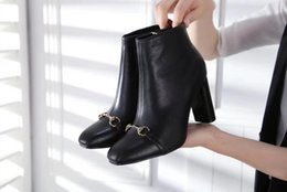 Wholesale Buttons Sewing Pearls - 8072New Designer Black Boots With Pearls High Chunky heels Fashion Hot Fall T Show Women's Booties