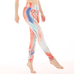 Colorati collant da corsa online-Pantalone sportivo Donna Flora Stampa Colorful Sexy Slim Leggings Yoga Vita alta Push Up Gym Workout Running Pantaloni Tight Sportwears