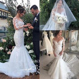 Sexy White Mermaid Country Wedding Dresses 2018 Plus Size 3D Floral Vintage  Lace Long Sleeves Italy African Arabic Wedding Bridal Gowns c733d6ade207