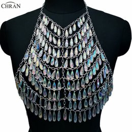 Wholesale rave necklace - Chran AB Acrylic Gem Stone Crop Top Disco Party Chain Necklace Rave Bra Bralette Lingerie Festival Costume Wear Jewelry CRS202