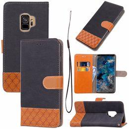 Couleur de la poche galaxie en Ligne-Jeans PU Cuir Slot Flip Wallet Case pour Samsung Galaxy S9 Plus Double Couleur Poche Antichoc Couverture
