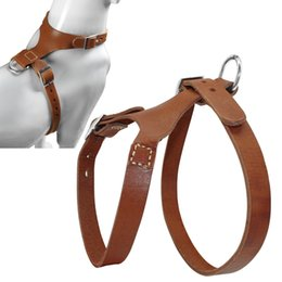 Wholesale handmade vests - Genuine Leather Dog Harness Handmade Brown Color Vest Real for More Breeds M L Sizes