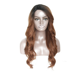 """Wholesale Long Heavy Hair - Heat Resistant Synthetic Wigs For Women Natural Long Loose Wave With Full Bangs 30"""" Ombre Hair Black To Brown Side Part 180% Heavy Density"""