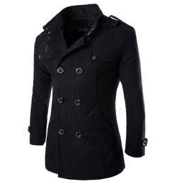 2019 cappotto italiano invernale Trench Coat Men Overcoat Winter Jacket Men Windbreaker Thick Solid Black Trench Coat Uomo in costume stile inglese cappotto italiano invernale economici