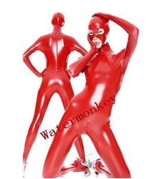 Robe zentai brillante en Ligne-2018 Nouveau style Adulte Sexy Femmes Full Body Rouge Brillant PVC Costume Yeux Ouvertes Et Bouche Fantaisie Dress Zentai Costume