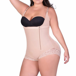 0d3402814d2d4 S-6XL Zip up Tummy Control Slimming bodysuit body shaper Waist trainer with butt  lifter butt enhancer for post partum women E118