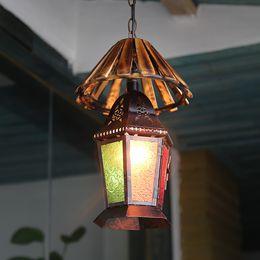 iluminação lustre mediterrâneo Desconto Boemia retro lustre Bar restaurante luz turca lâmpada de vidro manchado decoração mediterrânica lustre