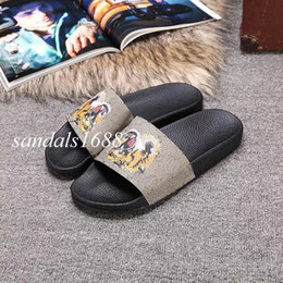Wholesale Factory Outlet Fasts - Fast Delivery Mens and womens fashion tiger bengal print leather Slide Sandals slippers beach flip flops factory outlet
