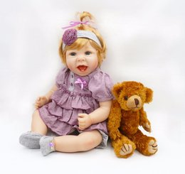 Wholesale Houses Inflatables - Wholesale- 55cm Silicone Reborn Baby Doll Toy Lifelike Princess Toddler Smile Girl Babies Dolls With Bear Fashion Birthday Gift Play House