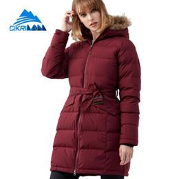 Nueva mujer cuello de piel largo invierno abajo acolchado Parka abrigo exterior a prueba de viento esquí snowboard chaqueta de nieve mujeres acampar senderismo abrigos desde fabricantes