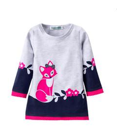 Wholesale 5t winter dresses - Autumn dresses for girl Girls clothing Cute Fox Prints Lace Flowers dress Long sleeve Winter bottom dresses 2T 3T 4T 5T 6T Hotsale B11