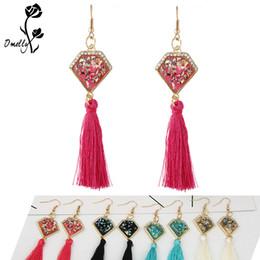 Wholesale cheap black crystal chandelier - Kendran Style Gold Filled Party Earrings Jewelry Shell Shaped colorful long tassel dangle wedding earrings Crystal Jewelry in Bulk Cheap