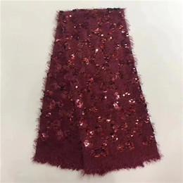EPT1015 Haute Qualité Africain Dentelle Tissu Avec Perles Nigeria Maille Brodez 3d Paillettes Tulle Textile Français Robe De Fête ? partir de fabricateur