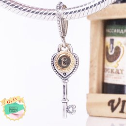 Wholesale Sterling Silver Key Bracelet - Valentine Day New Authentic 925 Sterling Silver and 14k gold Key to My Heart Pendant Charm Fits Pandora Style Jewelry Bracelets 796593