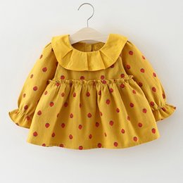 Vestiti da bambina di anni online-Baby Dress Cotton Dress 1 Year Old Baby Girls Autunno New Born Girl vestiti a maniche lunghe Infantile Princess Floral