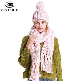 CIVICHIC 7 Cores de Alta Qualidade Handmade Cachecol Chapéu Conjunto de  Duas Peças de Crochê Borla Torção Longa Engrossar Xaile Quente Chic  Headwear SH105 deb8a0ef832