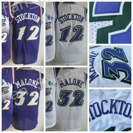 Wholesale Color White Jersey Basketball - Retro 12 John Stockton 32 Karl Malone Basketball Jerseys Men Throwback Purple White Color Vintage Uniforms All Stitched With Name